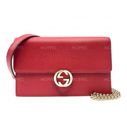 New Gucci GG Leather WOC in Red LGHW