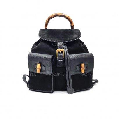 Used Gucci Vintage Backpack in Black Suede GHW