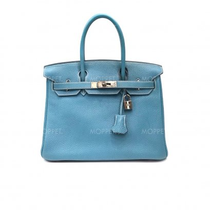 "Used Hermes Birkin 30"" in Blue Jean Togo PHW"