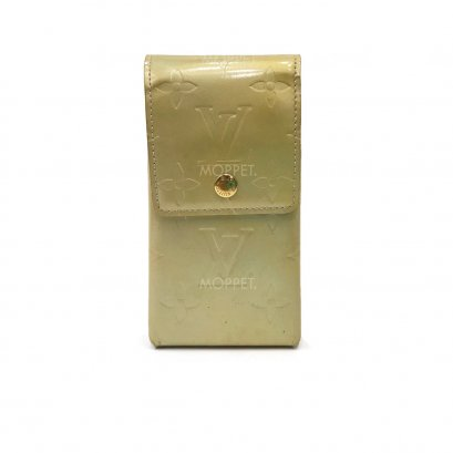 Used LV Cell Phone Case in Green Vernis GHW