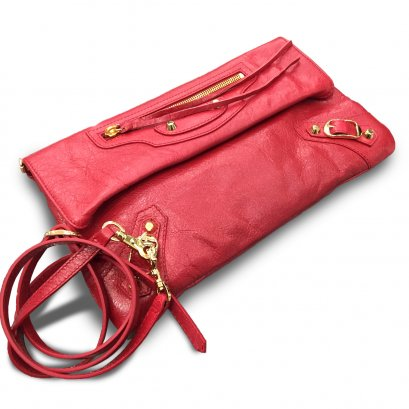 New Balenciaga Enveloped Clutch in Red Leather GHW