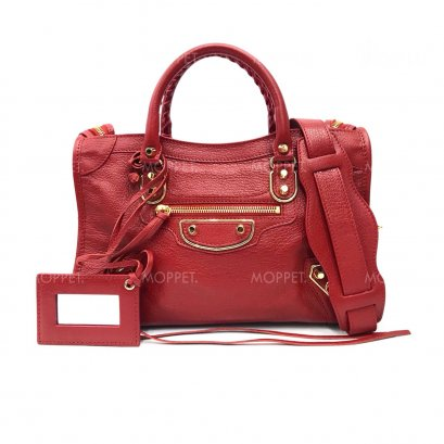 New Balenciaga City Edge Small in Red Leather GHW