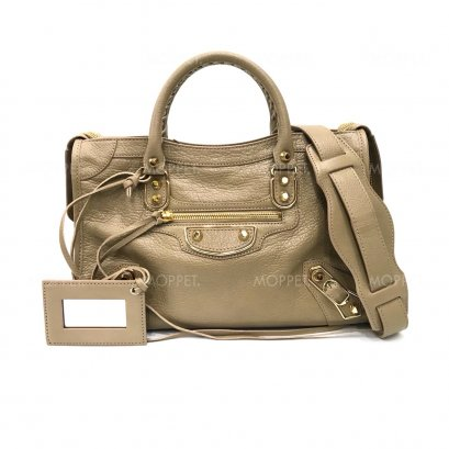 New Balenciaga City Edge Small in Beige Leather GHW