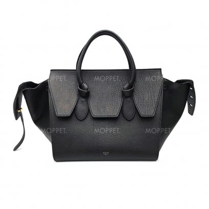 Used Celine Tie Knot Tote in Black Leather GHW