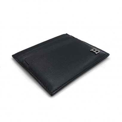 Unused Bally Card Holder in Black Leather SHW