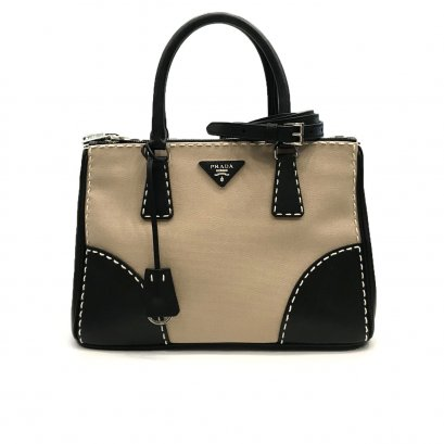 "Used Prada Galleria Lux Tote 30"" in Nero/Canvas SHW"