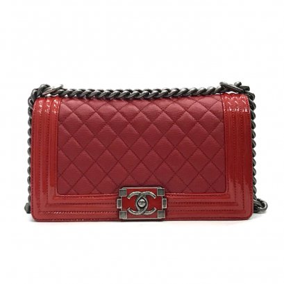 "Used Chanel Boy 10"" in Red Goatskin RHW"