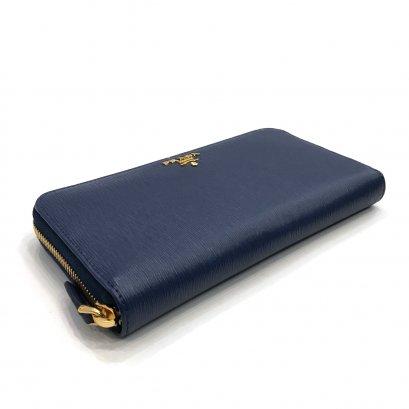 New Prada Zippy Long Wallet in Bluette Vitello Move GHW