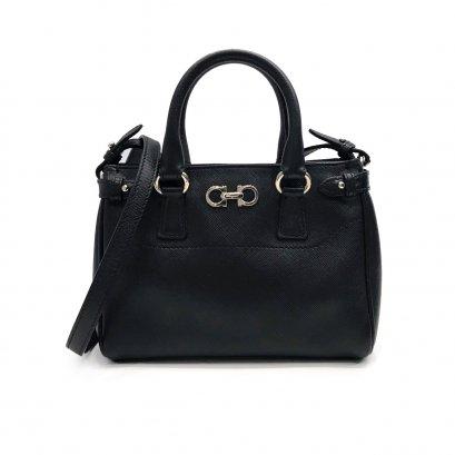 Used Ferragamo Batik Mini Bag in Black Leather SHW