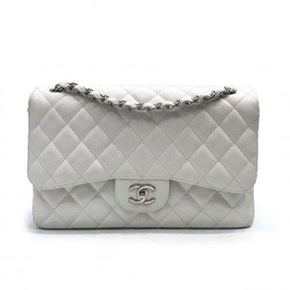 Used Chanel Classic Jumbo 12'' in White Caviar SHW