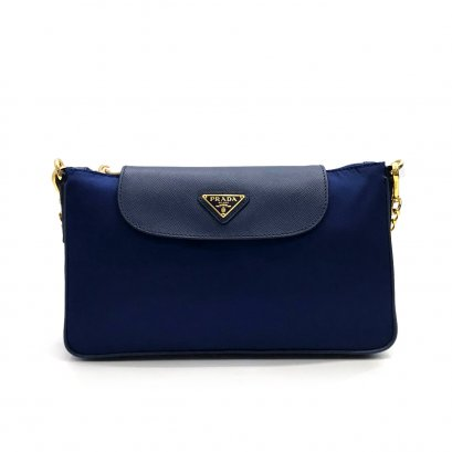 New Prada Tessuto Crossbody Bag in Bluette Nylon GHW