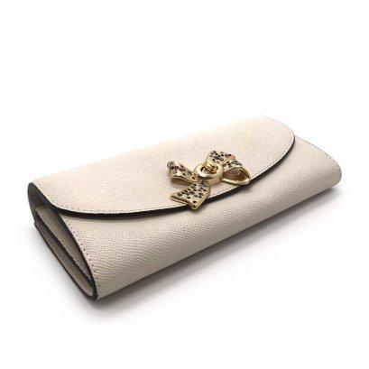 Unused Coach Long Wallet in Chalk Leather GHW