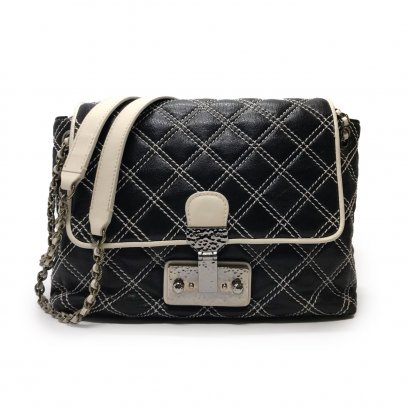 Used Marc Jacobs 2 Way Flap bag in Black/White Leather RHW