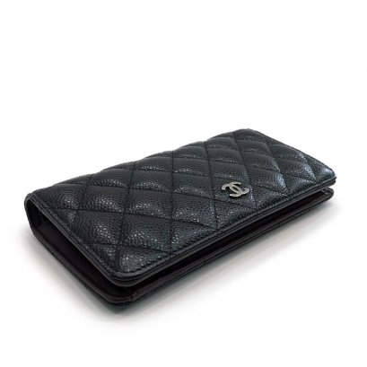 Used Chanel Bi Fold Wallet in Black Caviar SHW