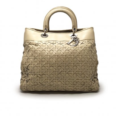 """Used Christian Dior Lady 12"""" Tote In Beige Leather SHW"""