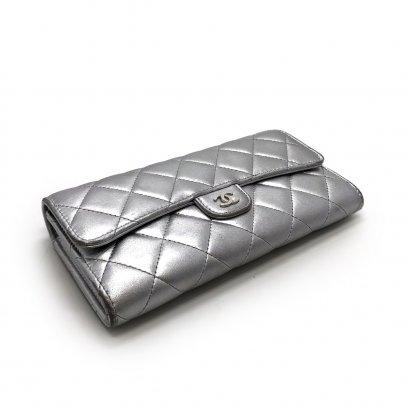 Used Chanel Long Wallet in Silver Lambskin SHW
