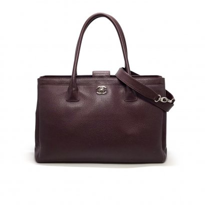 Used Chanel Executive Cerf Tote  in Burgundy Caviar SHW