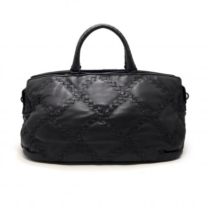 Used Bottega Veneta Boston Bag in Black Leather RHW