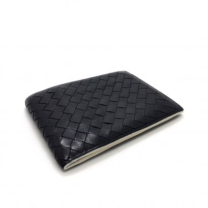 "Used Bottega Men""s Wallet in Black/White Leather"