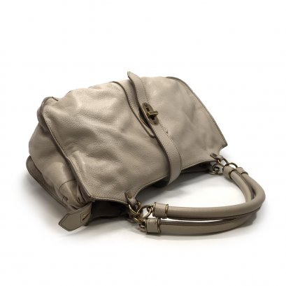 Used Burberry Leather Hand Bag in Pale Grey Leather GHW