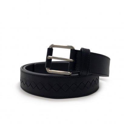 "Unused Bottega Veneta Men Belt 115"" in Black Leather RHW"