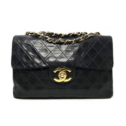 Used Chanel Vintage Classic Maxi in Black Lambskin GHW