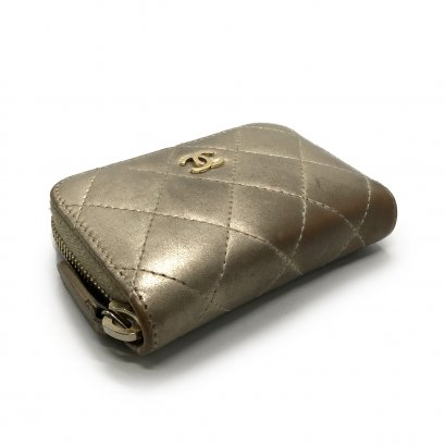 Used Chanel Zip Coin Wallet in Gold Lamb GHW