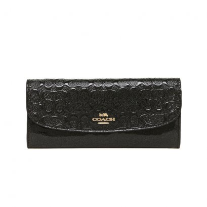 New Coach Soft Long Wallet in Black Patent Leather GHW
