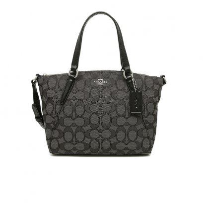 New Coach Mini Kelsey Satchel in Signature Black SHW