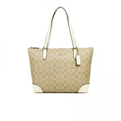 New Coach Zip Top Tote in Signature Chalk GHW