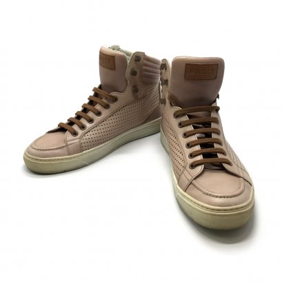 "Used Bally Men's Sneakers High Top 41"" in Nude Leather"