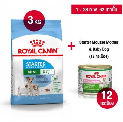 Royal Canin Mini Starter Mother & Babydog 3 kg. + Starter Mousse Mother & Baby Dog Canned x 12