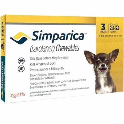 Simparica ซิมพาริคา 5mg (สำหรับสุนัข 1.3-2.5 Kg.)