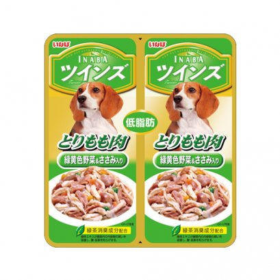 INABA Dog Food Pouch Chicken Thigh with Vegetable & Chicken Fillet (40 g. x 2)