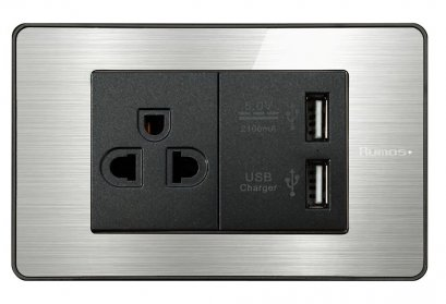 RUMOS PLUS SOCKET WITH USB ALUMINIUM
