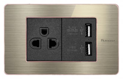 RUMOS PLUS SOCKET WITH USB PINK GOLD