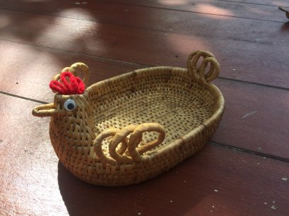Water hyacinth wicker work - chicken basket 7 inches
