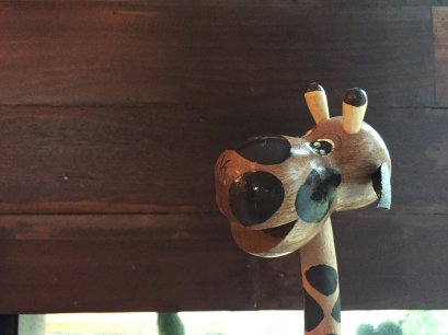 Lamp from coconut shell - giraffe