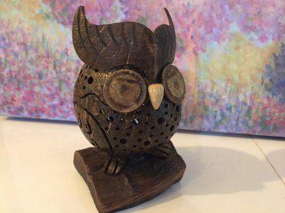 Casket from coconut shell - Owl