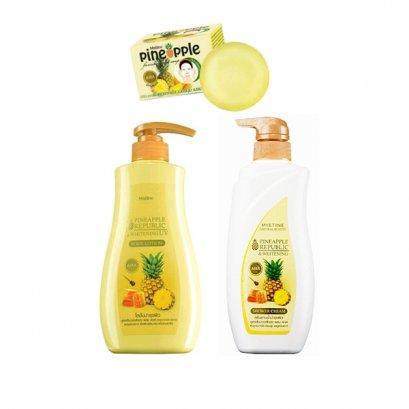 ผลิตภัณฑ์ดูแลผิวกายสูตรสับปะรด มิสทีน ไพน์แอปเปิ้ล ไวท์เทนนิ่ง ซีรี่ Mistine Pineapple Republic & Whitening Series