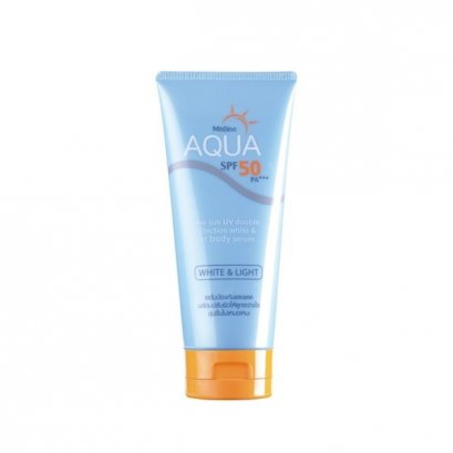 Mistine Aqua Base Sun UV Double Protection White and Light Body Serum SPF50 PA+++ 150 g.