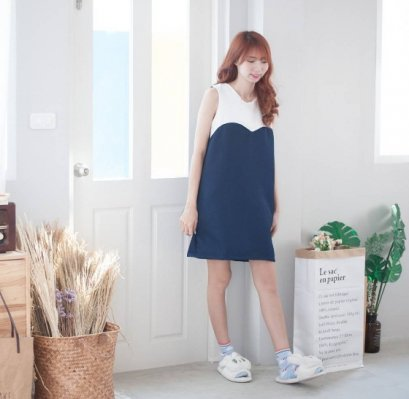 Kissing You Haru Dress - Navy