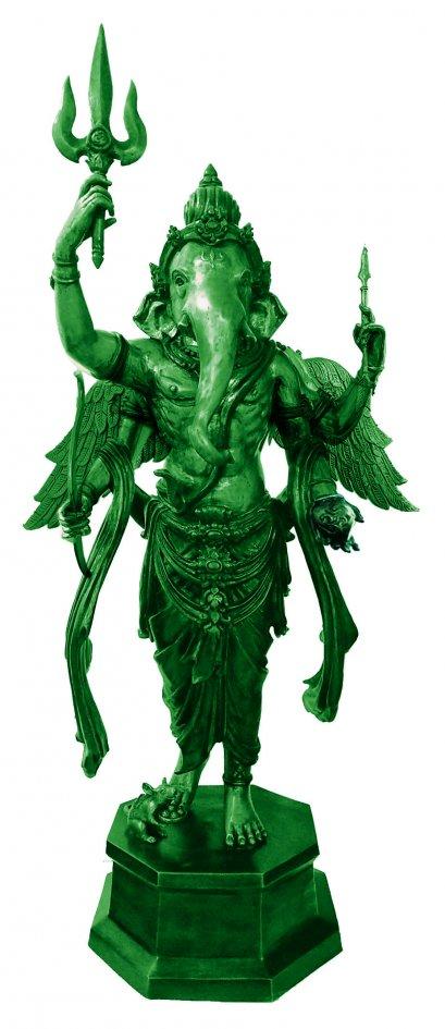 พระพิฆเนศเทวราชามหากามเทพ สีเขียวสำริด