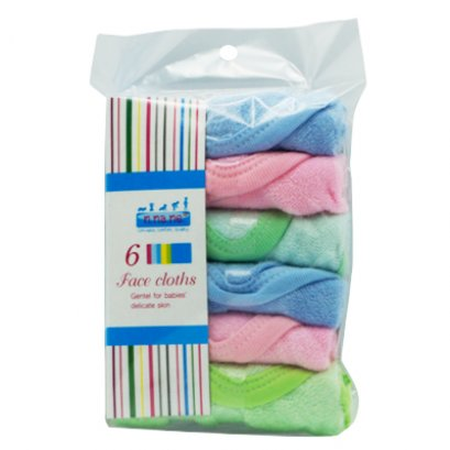 6 Pack m.ma.me. Cotton Hand & Face cloths with trim