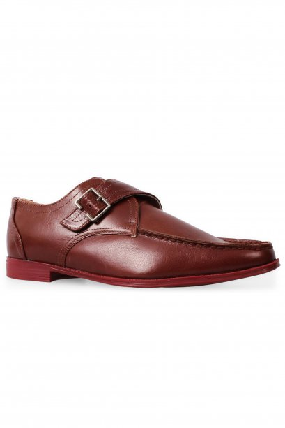 Red Brown Moccasin Monk Strap