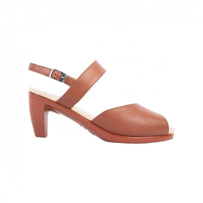 Tan Peep Toe Sling Back