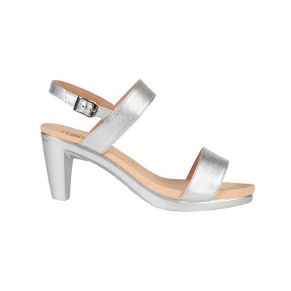 Silver Basic Strap High Heel