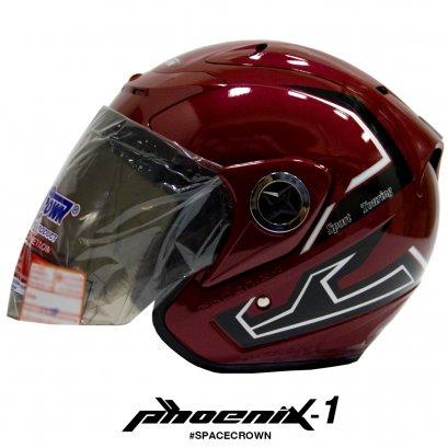 หมวกกันน็อคสเปซคราวน์ เปิดหน้า Phoenix-1 สีแดง