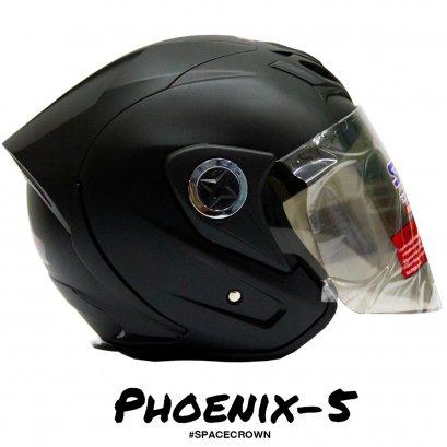 หมวกกันน็อคสเปซคราวน์ เปิดหน้า Phoenix-5 สีดำด้าน