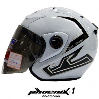 หมวกกันน็อคสเปซคราวน์ เปิดหน้า Phoenix-1 สีขาว